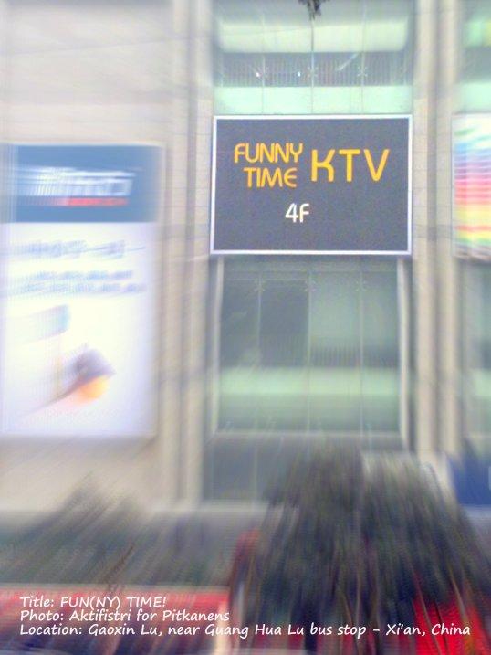 ktv, funny time, merk dagang, banner,