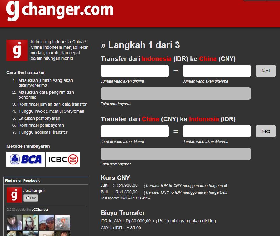 JGChanger: Salah satu pilihan transfer dana dari Indonesia ke Cina yg paling praktis, mudah, cepat, dan relatif termurah.