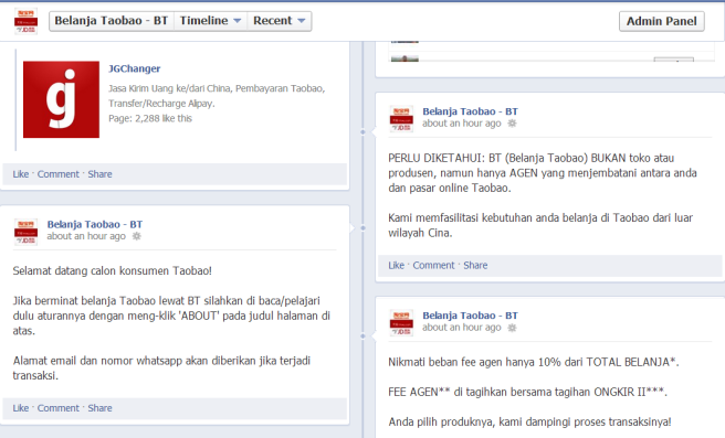 Cek juga ragam posting info BT di timeline Facebook