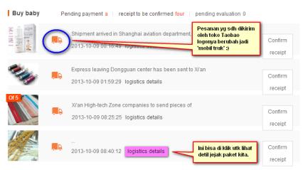 Contoh status barang yg sudah dikirim oleh toko Taobao.
