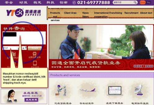 Contoh memasukkan nomor lacak di situs perusahaan logistik yang berbeda.