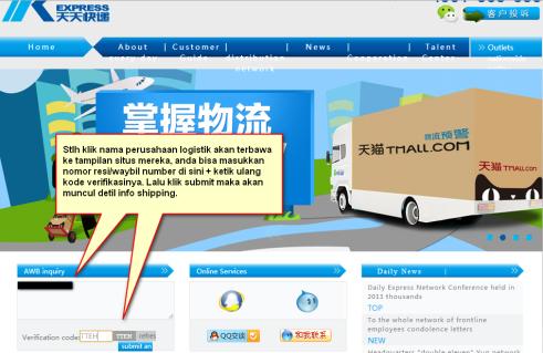 Contoh melacak pengiriman lewat situs resmi perusahaan logistik.