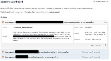 Jangan ragu laporkan isi konten/status/profil yang melanggar aturan main di fesbuk!