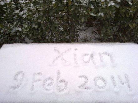Hari ke-4 turun salju di Xian. Hari pertama turun salju adalah 5 Februari 2014.