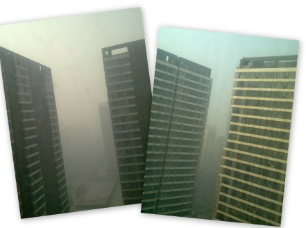 Penampakan udara 2 hari lalu dari jendela kami... cukup buruk walau bisa lebih buruk dari ini selama puncak winter (Desember lalu).