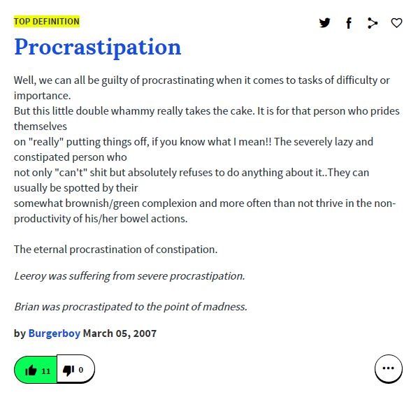 procrastipation