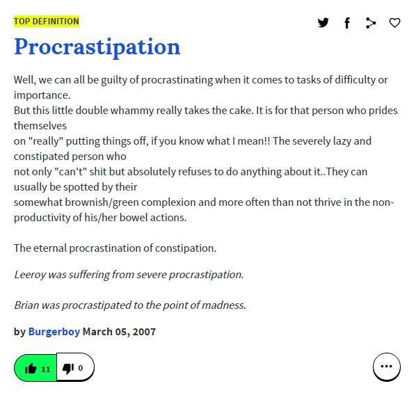 procrastipation